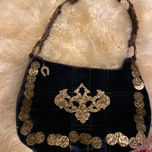 BETSEY JOHNSON velvet and leather purse